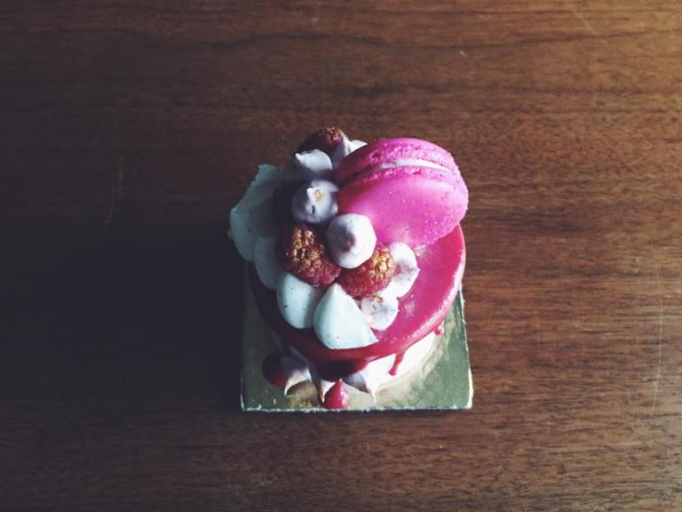 Top view of this beautiful Raspberry Love Tiny Cake