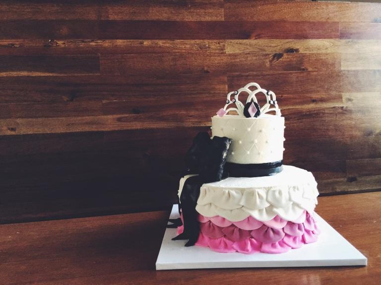 - Princess Baby Shower Cake - - 2 tier Marble Caks - Vanilla Buttercream - Fondant Ruffles - Fondant Bow - Fondant Tiara